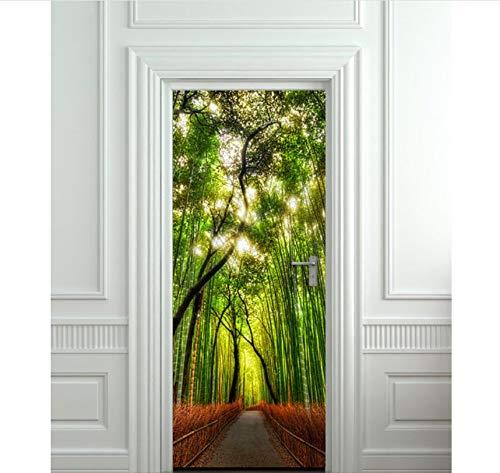 PANDABOOM 77X200 cm Bambus Wald Grüne Bäume Bild Wandbild Tür Aufkleber Tapete Aufkleber Dekoration Schlafzimmer Kinderzimmer