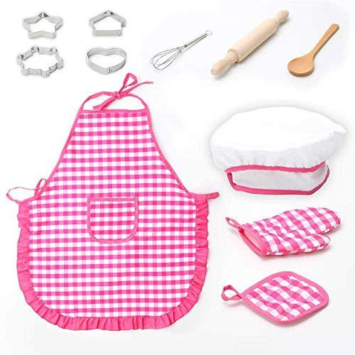 Teepao 11-teiliges Kinder-Koch-Spielzeug-Set mit Schürze, Ofenhandschuh, Eierbecher, Ausstechformen, Kochmütze und anderem Zubehör, Spielzeug für Kinder ab 3 Jahren ()