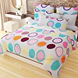Home Candy Candy Colorful 152 TC 3-D Microfiber Double Bedsheet with 2 Pillow Covers - Geometric, Multicolour