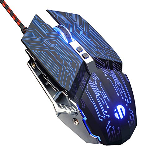inphic Gaming-Maus mit Kabel, USB optische Maus PC Computer Video Gaming Mouse mit Breathing LED, 4800 DPI, 6 programmierbare Tasten, hohe Präzision, DPI einstellbar, Technologie schwarz