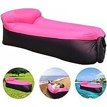JINGOU - Tumbona hinchable con bolsa de transporte para piscina, acampada, playa, senderismo