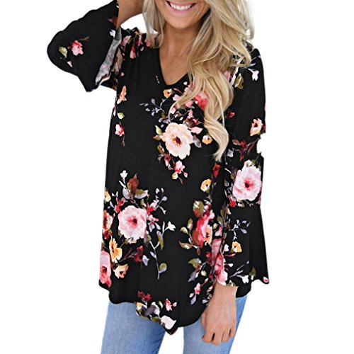 Damen Pullover,Honestyi Frauen Herbst Winter Casual Floral Drucken Langarm t-shirt Bluse (XXXL, Schwarz)