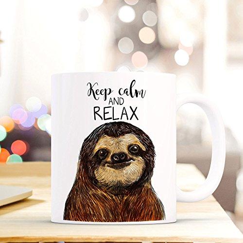 ilka parey wandtattoo-welt® Tasse Becher Kaffeetasse Kaffeebecher Faultiertasse Faultier mit Spruch Zitat Sprichwort keep calm and relax ts410