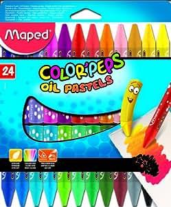 Maped 864012 Etui de 24 Cires souples pastel à l'huile