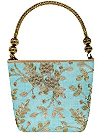 Bagaholics Ethnic Silk Hand Bag Clutches With Embroidery, Sequin And Zari Work Hand Held Bag Ladies Purse Gift...