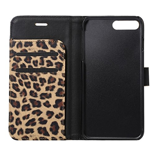 Hülle für iPhone 7 plus , Schutzhülle Für iPhone 7 Plus Leopard Textur Horizontale Flip Leder Tasche mit Halter & Card Slots & Wallet ,hülle für iPhone 7 plus , case for iphone 7 plus ( Color : Brown  Brown