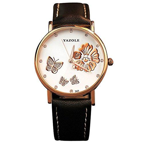 YaZhuoLun Damen-Armbanduhr,Leuchtende Nacht Wasserdicht Quarzwerk Uhren Leder Uhr(Schwarz)