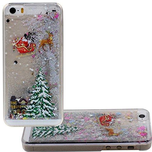 Schutzhülle iPhone 5 SE Hülle Case, Santa Claus Weihnachten Stil Muster Fließbar Sand Flüssigkeit Wasser Klar Transparent PC Kunststoff Hart Cover für Apple iPhone 5 5S 5G SE Hülle grau