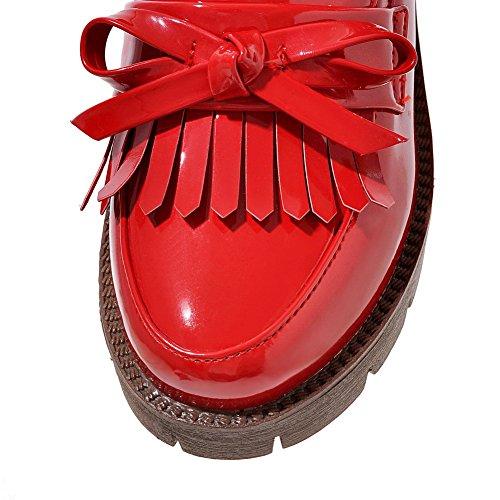 AllhqFashion Femme Couleur Unie Verni à Talon Correct Tire Rond Chaussures Légeres Rouge