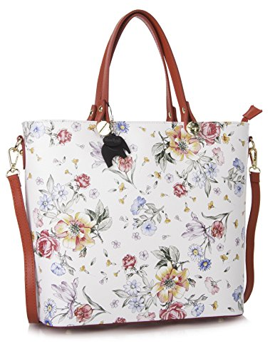 Big Handbag Shop , Damen Tote-Tasche Floral White - Red Trim