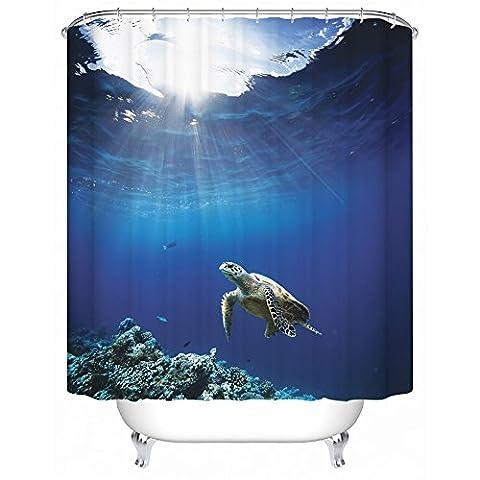 Sea Ocean Duschvorhang, Meer Fische und Tiere Unterwasser–zblx Wasserdicht Polyester Stoff Duschvorhang für Ihr Badezimmer (182,9x 182,9cm). a