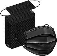 50 Pack Black Disposable Face Masks - 3 Ply Protective Layer Breathable Masks 50 pcs Black Masks Filter Protec