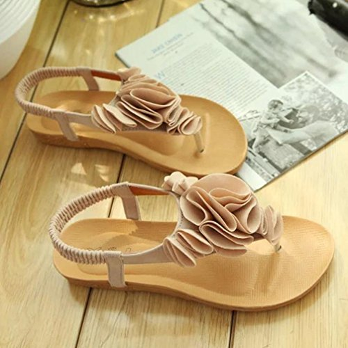 Koly_Scarpe Donna Summer Flower Boemia dolci dei sandali della punta della clip sandali della spiaggia Beige