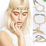 DDLBiz® Perlen-Troddel-Blumen-Ausdehnungs-Stirnband-Haar-Band-Kristallhaar-Kette Gold