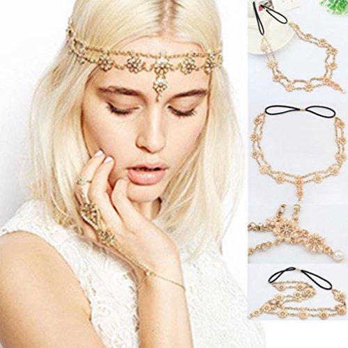 Kostüm Kopfschmuck Indische - DDLBiz® Perlen-Troddel-Blumen-Ausdehnungs-Stirnband-Haar-Band-Kristallhaar-Kette Gold