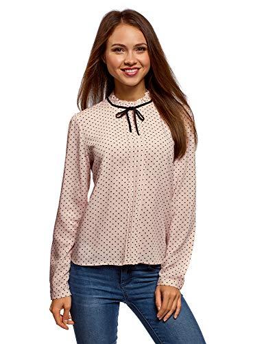 - Knopf-manschette Rüschen Bluse (oodji Ultra Damen Bluse mit Dekorativer Schleife und Rüschen am Kragen, Beige, DE 34 / EU 36 / XS)