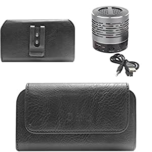 DMG Premium PU Leather Cell Phone Pouch Carrying Case with Belt Clip Holster for HTC One M7 (Black) + Wireless Bluetooth Speaker with Party LED Lights