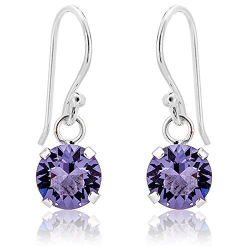 Dtp silver - orecchini pendenti da donna - argento 925 con cristalli swarovsky 6 mm - colore viola tanzanite