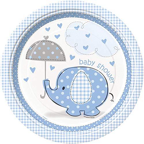 Unique Party- Platos de Papel Baby Shower con Elefante, 8 Unidades, Color azul, 21.9 cm (41695)