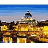 Roma Italia Pintura De Paisaje Por Números Lienzo De Pintura Para La Decoración Del Hogar 50X60CM Muy Bonito Regalo