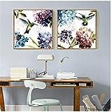 Pequeño hortensia púrpura fresca colibrí flores pintura lienzo cuadros moderno decoración del...