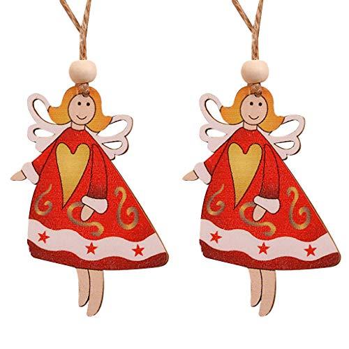 2Pcs Natalizie Ciondoli Forma di Animale Babbo Natale di Regalo Ornamenti per Albero di Natale Decorazione Dell'Albero di Natale Abbellimenti di Legno Scheda Clip Ornamenti da A