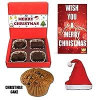 BOGATCHI Christmas Premium Gift Set, Christmas Plum Cake (40g), Christmas Dark Chocolates Box + Free Merry Xmas Card + Free Santa Cap