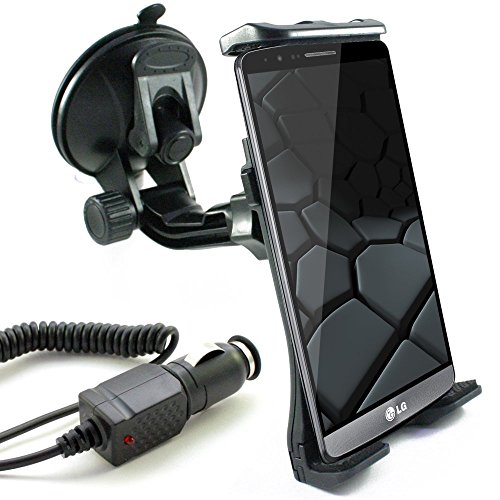KFZ Set für LG K10 / K8 / K7 / K4 LTE / K3 LTE / V10 / x-screen / x-cam / x-mach / x-power / Stylus 2 / Class / Bello 2 / G4 / G4 s / G4 c / G Flex 2 / Magna / Spirit LTE / Spirit / Leon LTE / Leon / Joy / G3 / KFZ Halterung inkl. Auto Ladekabel in schwarz (Mod:2)