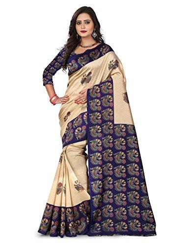 e-VASTRAM Womens Art Mysore Printed Silk(NS24B_Blue)