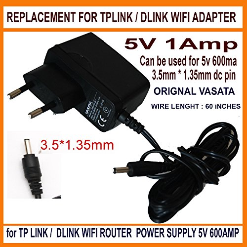 Nirmals Estore Replacement 5V 1AMP FOR 5V 600ma Compatiable Power Supply Adaptor for TP Link / dlink Wifi Routers / Switches 5v 1a (Black)  available at amazon for Rs.425