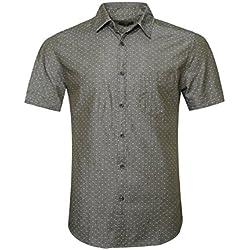 SOOPO Camisa Hombre Manga Corta Camisa Unicolor Estampada de Puntos Pequeños Camisa de Vestir Camiseta Casual, Verde, L
