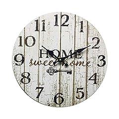 Idea Regalo - Rebecca Mobili Orologio Decorativo, Orologi a Muro, Home Sweet Home, Stile Shabby, Legno Bianco - Misure: Ø 33,8 cm x P 4 cm - Art. RE6151