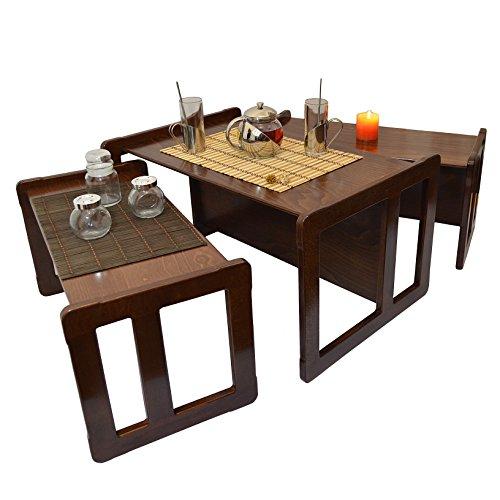 Obique 3 en 1 Nid des Deux Tables de Café Multifonctionnelles Adultes Ensemble de 3 Enfants, Deux Petits Bancs Tables Un Grand Banc Table en Bois de Hêtre, Vernis Foncé