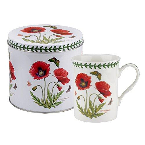 Botanic Garden Poppy Motiv Becher und Zinn Set, Porzellan, Mehrfarbig, 13x 13x 11,5cm -