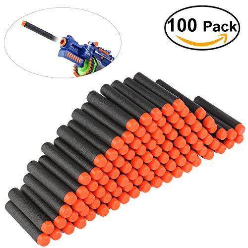 Preisvergleich Produktbild NUOLUX Darts Schaumstoff 100pcs 7,2cm für Nerf N-Strike Elite Serie Blasters Spielzeug Gewehr Schwarz