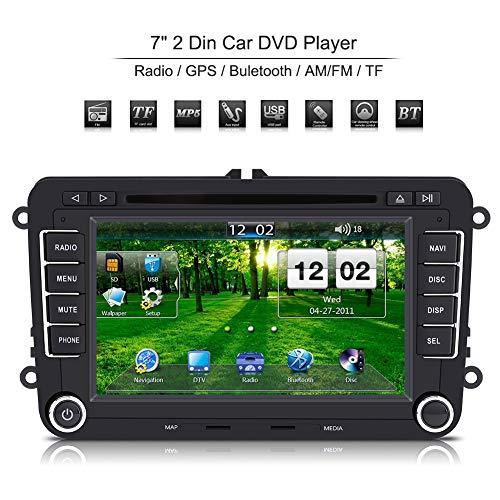 800 * 400 HD Bluetooth Autoradio, 2 Din 7 pouces Autoradio Universel avec Écran Tactile Lecteur DVD Support Navigation GPS, Radio AM/FM, Carte USB/TF, Caméra de Vision Arrière Multimédia Radio Ent