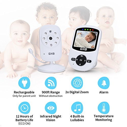 GHB Video Baby Monitor with Camera 2.4″ Wireless Night Vision