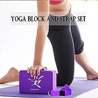 Pack de 2bloques de Yoga Pilates espuma y 1pc de cinturón de Yoga con D anillo para estirar, light purple