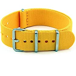 StrapsCo 20mm Yellow 3-Ring G10 Ballistic Nylon Nato Zulu Watch Strap