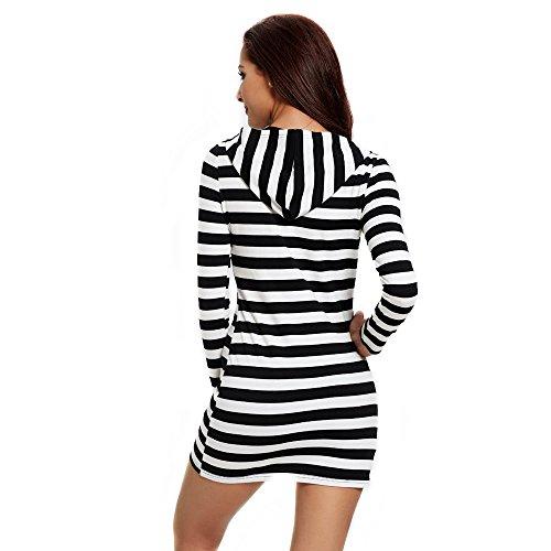 Femmes automne printemps Robes élastiques décontracté court bodycon sexy robe pour fille mini crayon Clubwear Noir/blanc