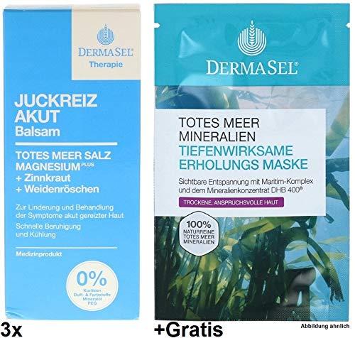 3x 75ml Dermasel Juckreiz Akut Balsam +Gratis Erholungs-Maske. Parfümfrei. - Derma-peeling-behandlung