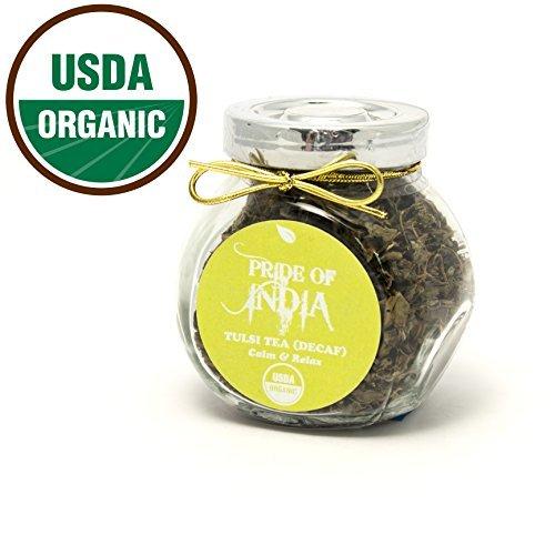 Pride Of India - Organic Gourmet Handmade Tea Jars (Organic Tulsi HolyBasil Tea Decaf (0.5oz - 20 Cup)) -