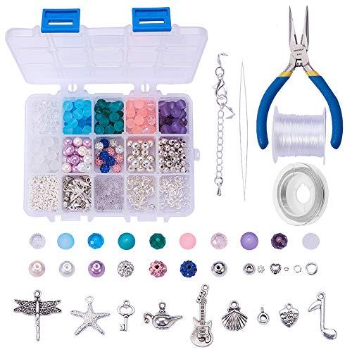 SUNNYCLUE 1 Set 650 + pcs Schmuck Machen Kit Perlen Charm Armband Halskette DIY Craft Kits für Kinder Teen, Mädchen Erwachsene Kinder, Mischfarbe -