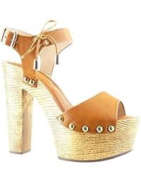 Angkorly - Zapatillas de Moda Sandalias Mules zapatillas de plataforma mujer tachonado metálico madera Talón Tacón ancho alto 14 CM - Camel
