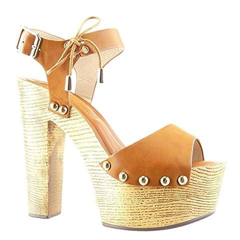 Angkorly - Chaussure Mode Sandale Mule plateforme femme clouté métallique bois Talon haut bloc 14 CM - Camel - PN1566 T 36