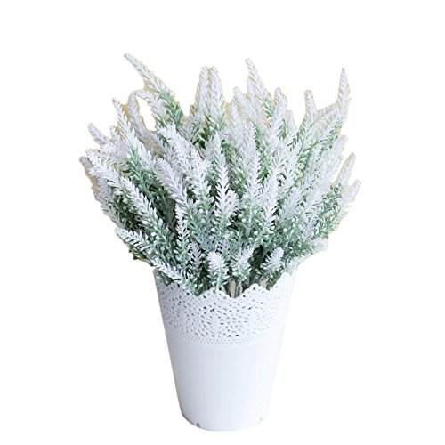 (WuWxiuzhzhuo Big Promotion 1Pc Artificial Fake Lavender Flower Plants Wedding Party Home Office Decoration White)