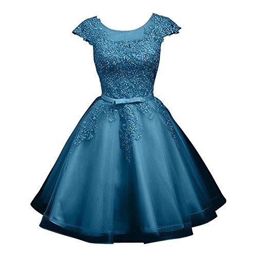 Charmant Damen Silber Kurzes Spitze Abendkleider Cocktailkleider Promkleider Abiballkleider mini A-linie Tinte Blau