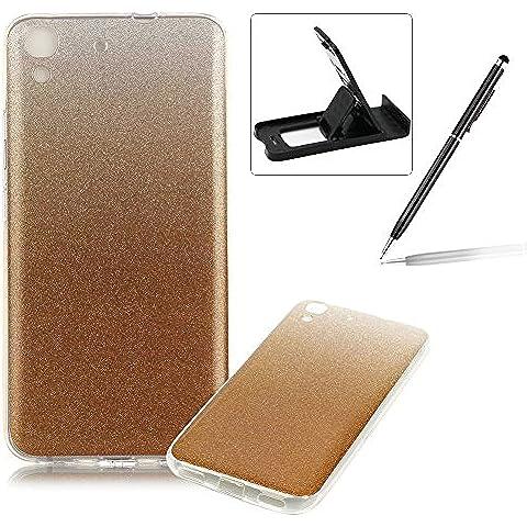 Huawei Y6 Caja de goma de silicona resistente a los arañazos,Huawei Y6 Ajuste perfecto La caja del gel de parachoques suave,Herzzer Luxury Elegante [Gradiente de color luz de las estrellas] Piel del arco iris del brillo de la jalea ligero flexible Gel Shell protector de la contraportada para Huawei Y6 + 1 x Negro pata de cabra + 1 x Negro Lápiz óptico - Oro