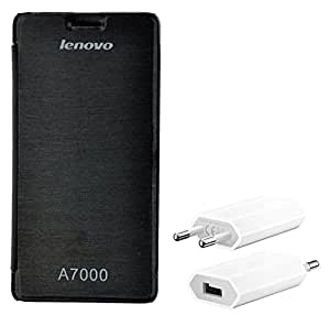 Chevron Flip Cover Case with Mobile Wall Charger for Lenovo A7000 (Black)