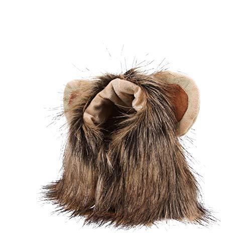 Domire Haustier Hund und Katze Kostüme Lion Kopfbedeckung Hood Kopfschmuck Cap Nette kreative Katze Lustige Art und Weise neues Komfort-Kleid Hood Brown 1pc S